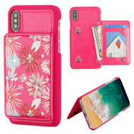 Pocket Wallet Case with Card Stand for iPhone XS / X - Spring Daisies