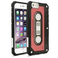 Vintage Cassette Anti-Shock Hybrid Armor Case for iPhone 6 Plus / 6S Plus - Red