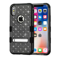 Military Grade Certified TUFF Diamond Hybrid Armor Case with Stand for iPhone XS / X - Black