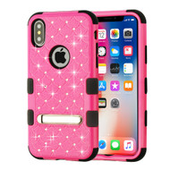 Military Grade Certified TUFF Diamond Hybrid Armor Case with Stand for iPhone XS / X - Hot Pink