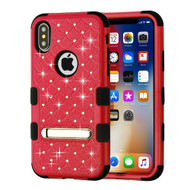 Military Grade Certified TUFF Diamond Hybrid Armor Case with Stand for iPhone XS / X - Red