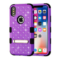 Military Grade Certified TUFF Diamond Hybrid Armor Case with Stand for iPhone XS / X - Purple