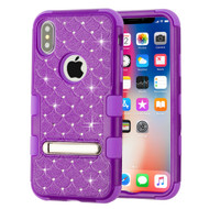 Military Grade Certified TUFF Diamond Hybrid Armor Case with Stand for iPhone XS / X - Purple 262