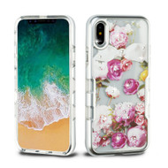 TUFF Panoview Diamante Transparent Hybrid Case for iPhone XS / X - Roses