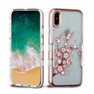 TUFF Panoview Diamante Transparent Hybrid Case for iPhone XS / X - Spring Flowers