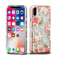 TUFF Panoview Diamante Transparent Hybrid Case for iPhone XS / X - European Rose