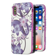 Verge Hybrid Armor Case for iPhone XS / X - Purple Hibiscus Flower Romance