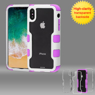 *SALE* TUFF Vivid Transparent Hybrid Armor Case for iPhone XS / X - Ivory White Electric Purple