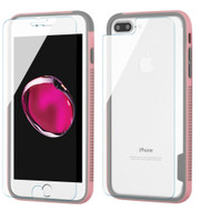 Surround Bumper Shield + Front and Back Tempered Glass Screen Protector for iPhone 8 Plus / 7 Plus - Pink