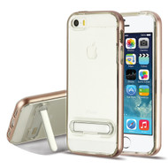 Bumper Shield Clear Transparent TPU Case with Magnetic Kickstand for iPhone SE / 5S / 5 - Rose Gold
