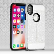 Leather Texture Anti-Shock Hybrid Protection Case for iPhone XS / X - Silver