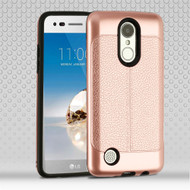 Leather Texture Anti-Shock Hybrid Protection Case for LG Aristo / Fortune / K8 (2017) / Phoenix 3 - Rose Gold