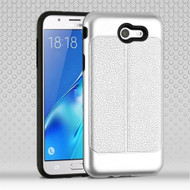 Leather Texture Anti-Shock Hybrid Protection Case for Samsung Galaxy J7 (2017) / J7 V / J7 Perx - Silver