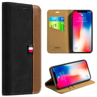 Genuine Suede Leather Two Tone Wallet Case for iPhone X - Black