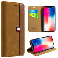 Genuine Suede Leather Two Tone Wallet Case for iPhone X - Brown