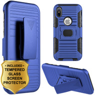 Mag-Defender Hybrid Armor Case with Holster and Tempered Glass Screen Protector for iPhone XS / X - Blue