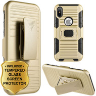 Mag-Defender Hybrid Armor Case with Holster and Tempered Glass Screen Protector for iPhone X - Gold