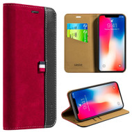Genuine Suede Leather Two Tone Wallet Case for iPhone X - Red