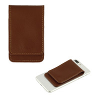 Genuine Leather Flip Adhesive Dual Slot Card Pocket Pouch with Snap Fastener - Brown