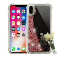 Mirror Finish Confetti Quicksand Glitter Case for iPhone XS / X - Rose Gold