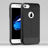 Leather Texture Anti-Shock Hybrid Protection Case for iPhone 8 / 7 - Black