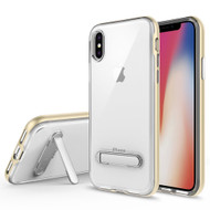 Bumper Shield Clear Transparent TPU Case with Magnetic Kickstand for iPhone XS / X - Gold