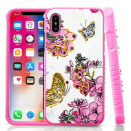 Tough Anti-Shock Hybrid Protection Case for iPhone XS / X - Butterfly and Flowers