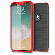360 Full Body Protection Fusion Case with Tempered Glass Screen Protector for iPhone X - Red