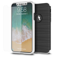 360 Full Body Protection Fusion Case with Tempered Glass Screen Protector for iPhone X - Silver