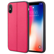 Rubberized Leather Feel Backing TPU Case for iPhone X - Red