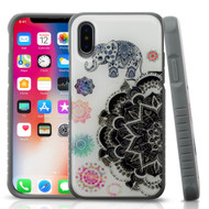 Tough Anti-Shock Triple Layer Hybrid Case for iPhone XS / X - Lucky Elephant Mandala