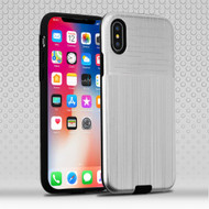 Double Texture Anti-Shock Hybrid Protection Case for iPhone XS / X - Silver