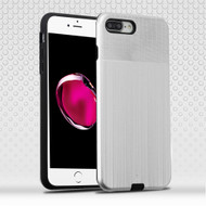 Double Texture Anti-Shock Hybrid Protection Case for iPhone 8 Plus / 7 Plus - Silver