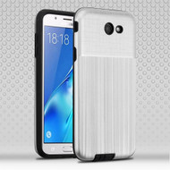 Double Texture Anti-Shock Hybrid Protection Case for Samsung Galaxy J7 (2017) / J7 V / J7 Perx - Silver