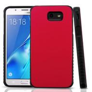Tough Anti-Shock Hybrid Protection Case for Samsung Galaxy J7 (2017) / J7 V / J7 Perx - Red