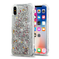 Tuff Lite Quicksand Glitter Transparent Case for iPhone XS / X - Silver