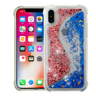 Confetti Dual Chamber Quicksand Glitter Transparent Case for iPhone XS / X - Rose Gold Blue