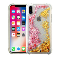 Confetti Dual Chamber Quicksand Glitter Transparent Case for iPhone XS / X - Pink Gold