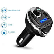 Bluetooth FM Transmitter Car Kit with Dual USB Charging Ports - Black