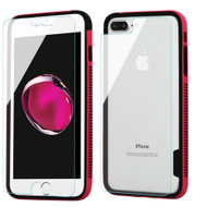 Surround Bumper Shield + Front and Back Tempered Glass Screen Protector for iPhone 8 Plus / 7 Plus - Hot Pink