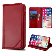 Mybat Genuine Leather Wallet Case for iPhone XS / X - Red