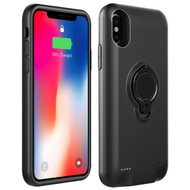 Smart Power Bank Battery Case 5000mAh with Ring Holder for iPhone XS / X - Black