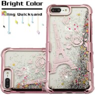 Tuff Lite Quicksand Glitter Electroplating Case for iPhone 8 Plus / 7 Plus / 6S Plus / 6 Plus - Eiffel Tower Rose Gold