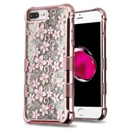 Tuff Lite Quicksand Glitter Electroplating Case for iPhone 8 Plus / 7 Plus / 6S Plus / 6 Plus - Hibiscus Rose Gold