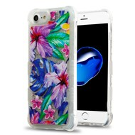 Tuff Lite Quicksand Glitter Transparent Case for iPhone 8 / 7 / 6S / 6 - Watercolor Hibiscus