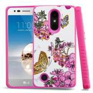 Tough Anti-Shock Hybrid Protection Case for LG Aristo / Fortune / K8 (2017) / Phoenix 3 - Butterfly and Flowers
