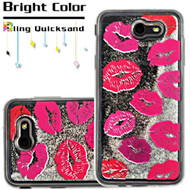 Quicksand Glitter Transparent Case for Samsung Galaxy J7 (2017) / J7 V / J7 Perx - Kisses