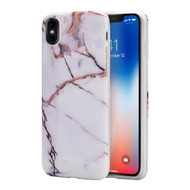 Marble IMD Soft TPU Case for iPhone XS / X - White Gold