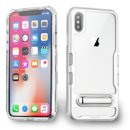 TUFF Panoview Transparent Hybrid Case with Magnetic Kickstand for iPhone XS / X - Silver