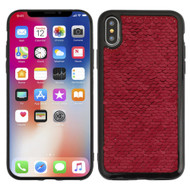 Two-Tone Sparkle Sequins Case for iPhone XS / X - Red